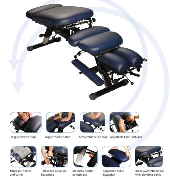 réglage de la table de chiropraxie A280
